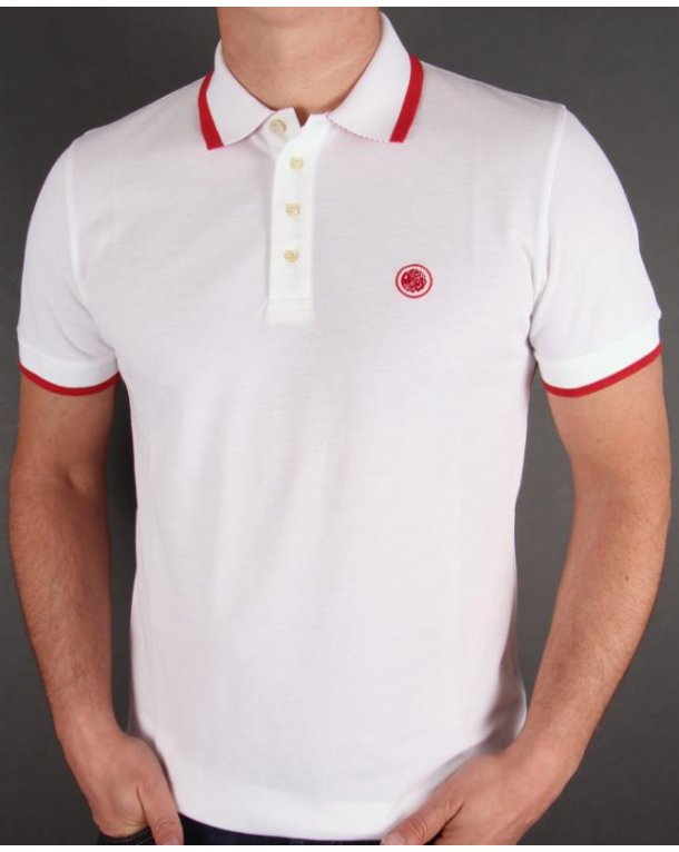 Pretty Green Tipped Polo Shirt White/red