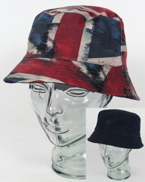 Pretty Green Union Jack Bucket Hat Navy
