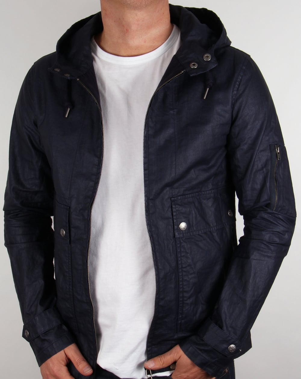 Pretty Green Wren Jacket Navy Blue,hooded,coat,parka,mens,waxed,linen