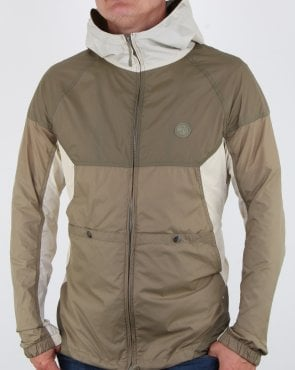 Pretty Green Zip Through Hooded Contrast Jacket Khaki