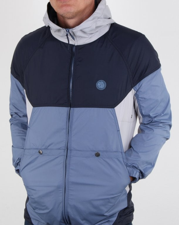 Pretty Green Zip Through Hooded Contrast Jacket Navy