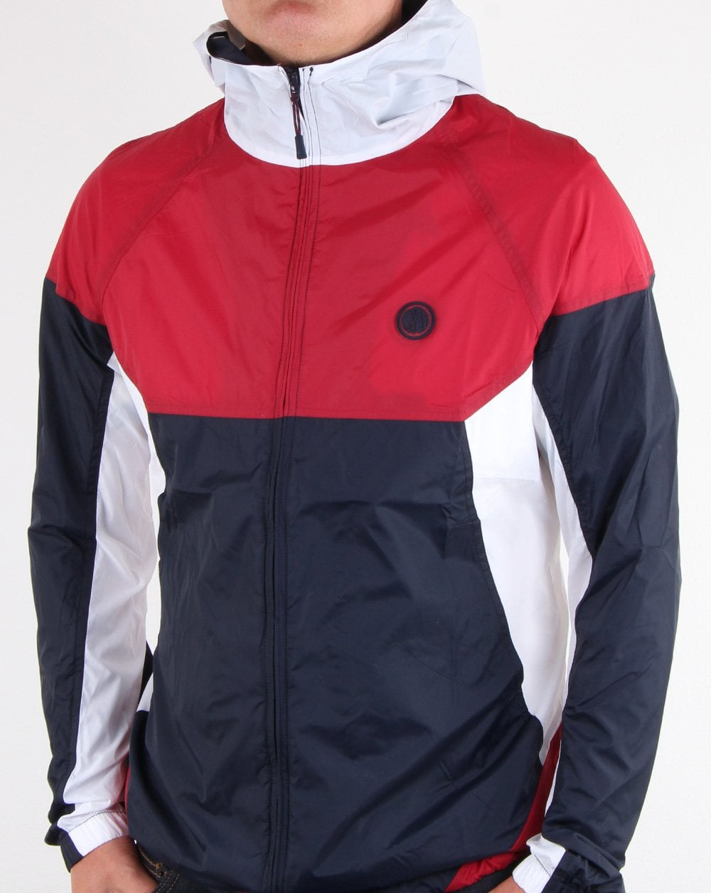 661c86a1a49 Pretty Green Zip Through Hooded Contrast Jacket Red/navy