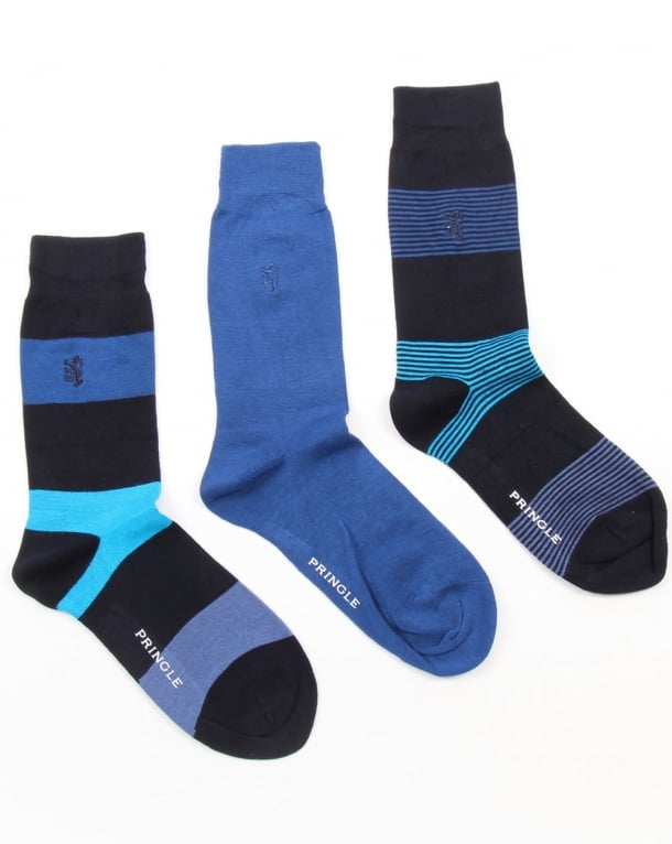 Pringle Bamboo Wide Stripe Socks Navy/Blue