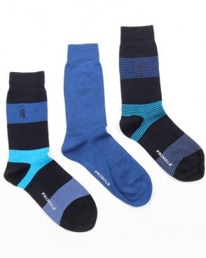 Pringle 3 Pack Socks Pringle Bamboo Wide Stripe Socks Navy/Blue