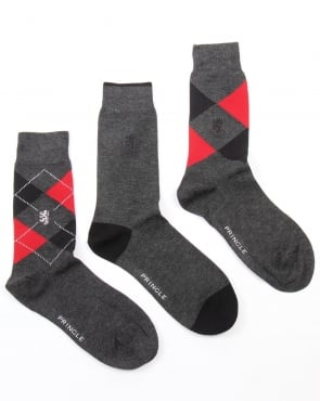 Pringle 3 Pack Socks Pringle Waverley Argyle Socks Charcoal/Red