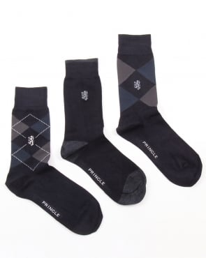 Pringle 3 Pack Socks Pringle Waverley Argyle Socks Navy