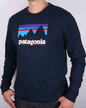 Patagonia Shop Sticker Long Sleeve T-shirt Navy