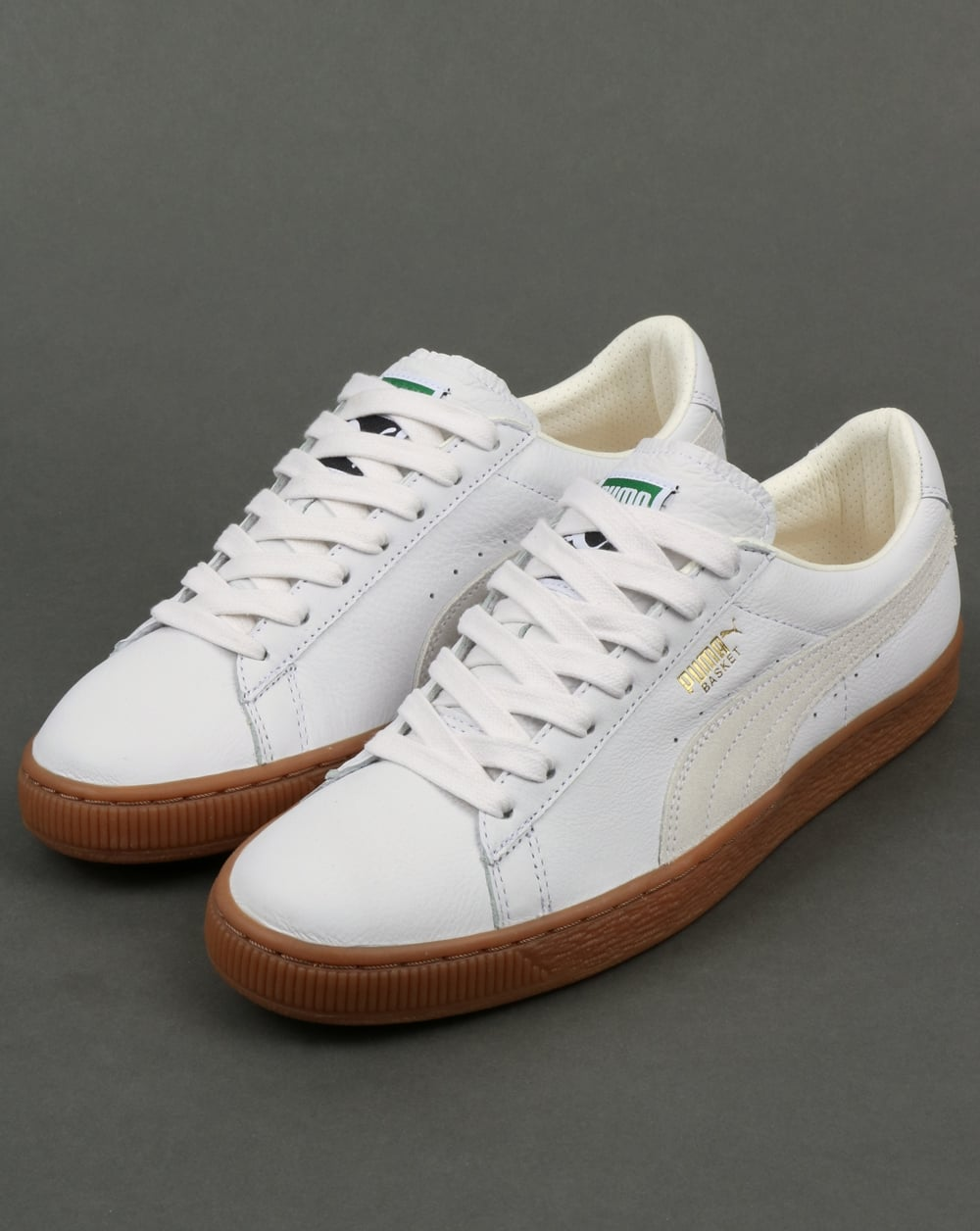 6ca29298af4dc Puma Basket Classic Gum Deluxe Trainers White