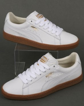 Puma Basket Classic Gum Trainer White/Metallic Gold