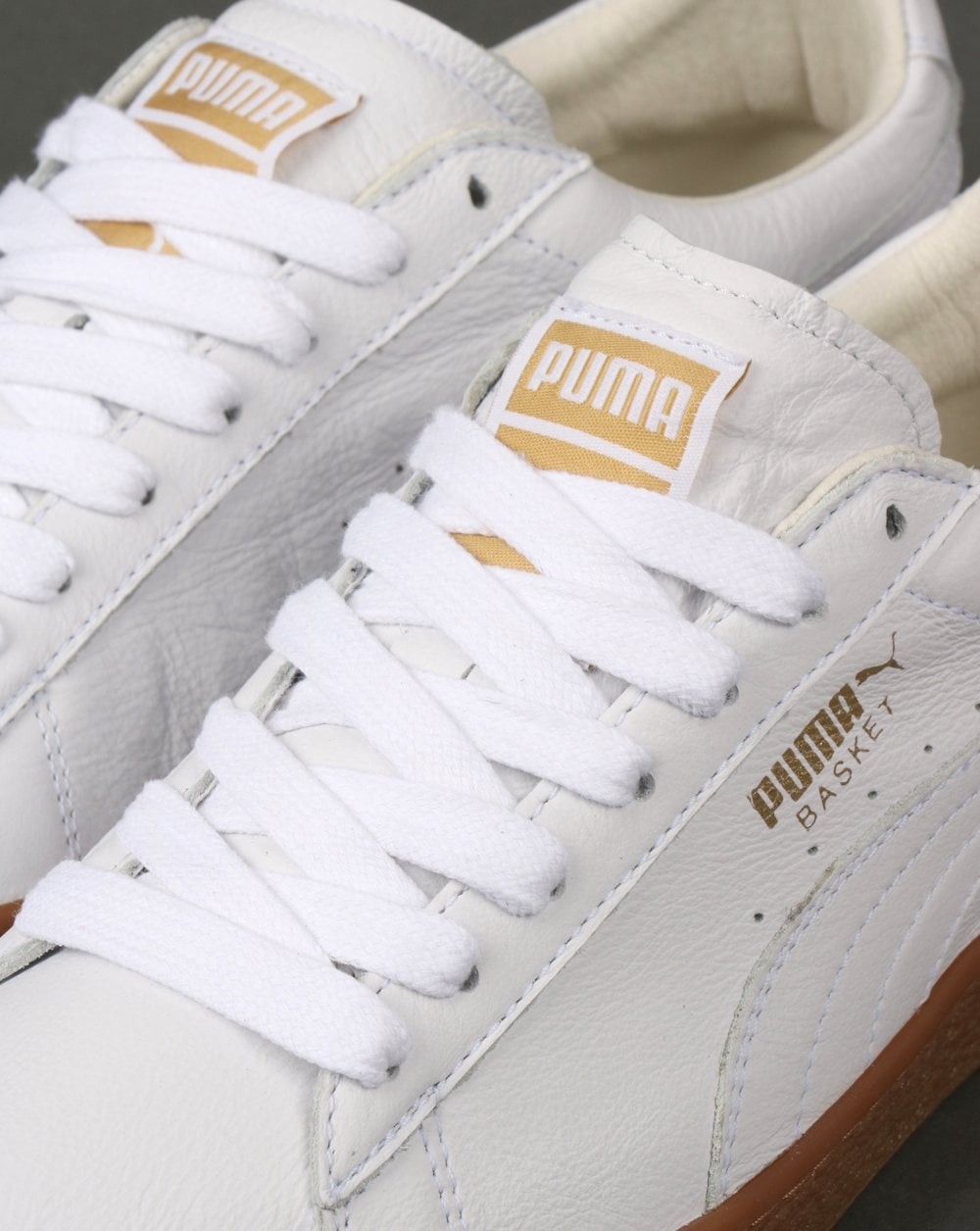 70761e79 Puma Basket Classic Gum Trainer White/Metallic Gold