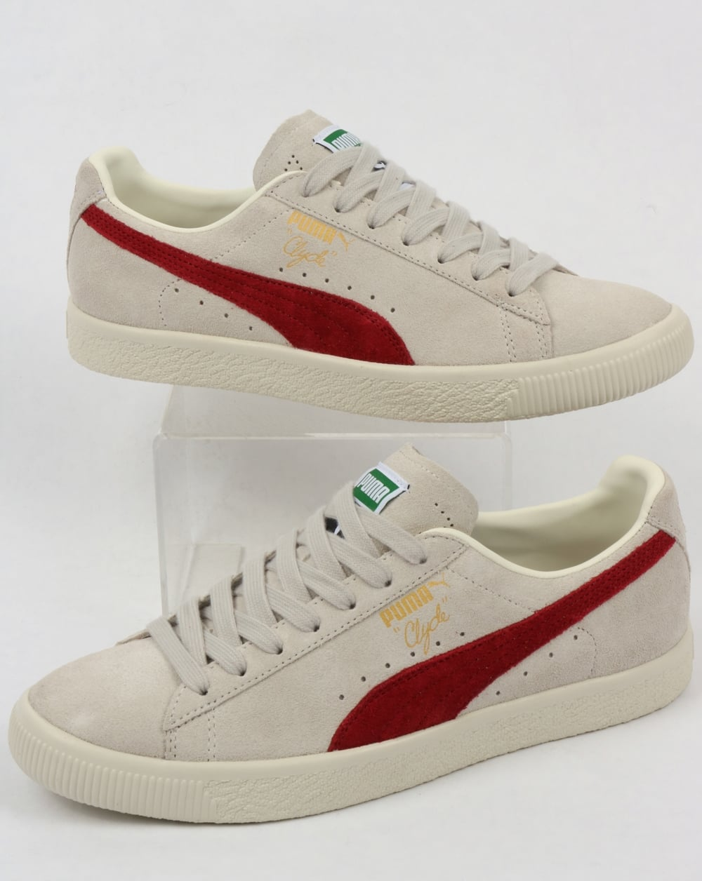 8041048f5ea Puma Clyde Archive Trainers Grey/Red Dahlia,shoes,suede,retro,80s