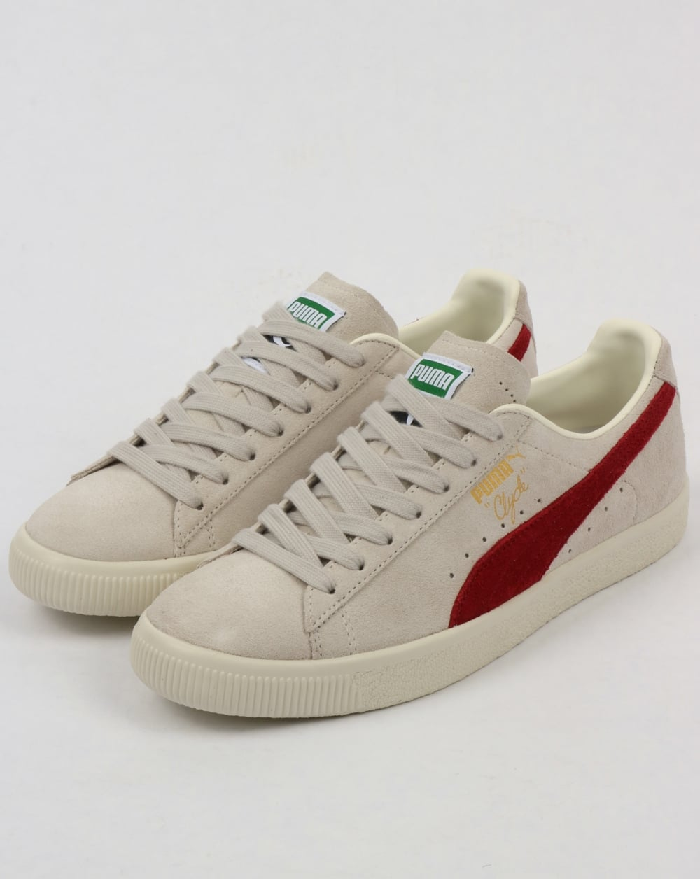 9c938686ecc Puma Clyde Archive Trainers Grey Red Dahlia