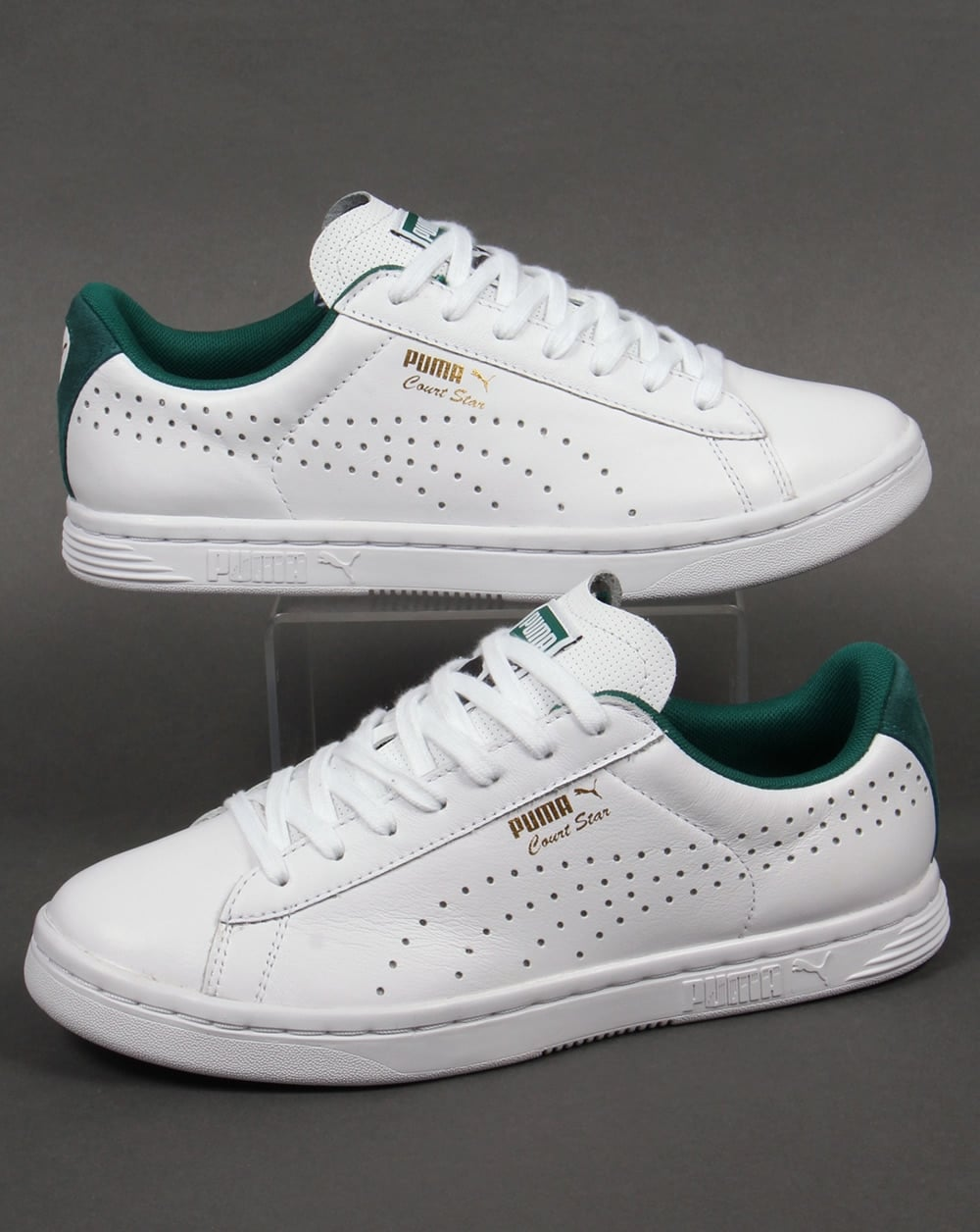cfcd76d7d3f6 Puma Court Star Crafted Trainers White Green - Trainers from 80s ...