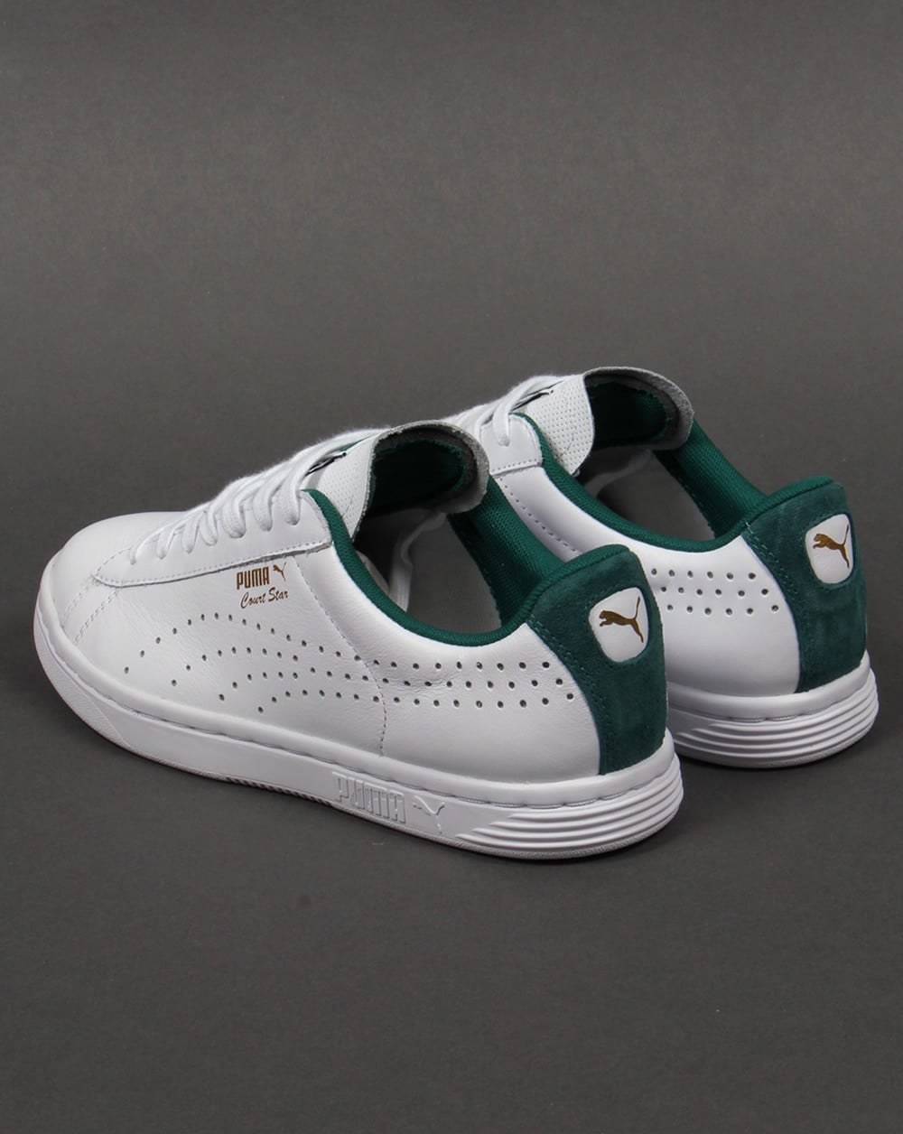 563eb91ce8a Puma Court Star Crafted Trainers White Green - Trainers from 80s ...