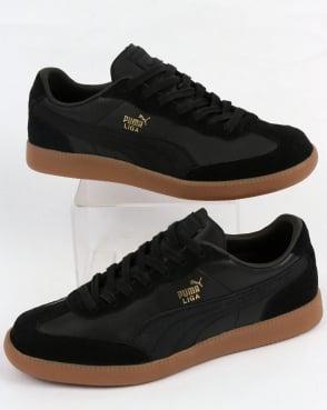 Puma Liga Leather Trainers Black