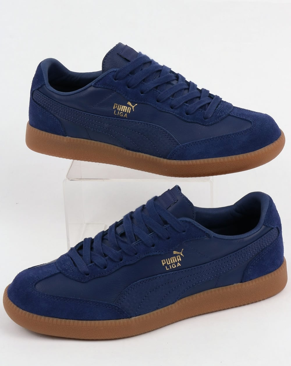 sports shoes 85b3c 4b817 Puma Liga Leather Trainers Blue