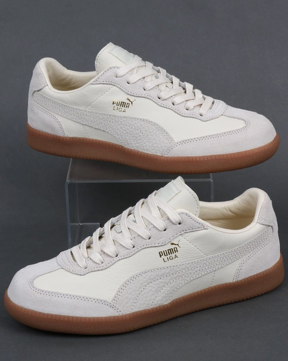 new concept ac3bc 3ab87 Puma Liga Leather Trainers Whisper White