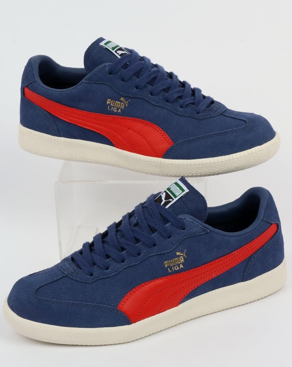 02687ccc3f04db Puma Puma Liga Suede Trainers Blue Indigo Flame Scarlet