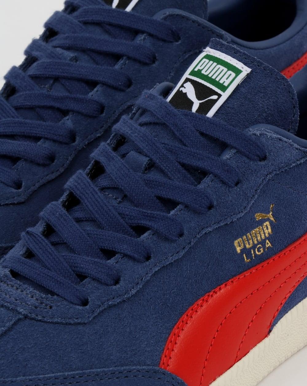daaa931b52fb3a Puma Liga Suede Trainers Blue Indigo Flame Scarlet