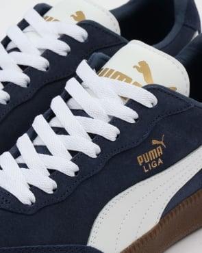 Puma Liga Suede Trainers Navy/White