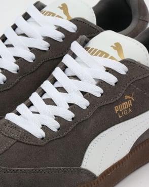 Puma Liga Suede Trainers Steel Grey/White