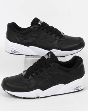 Puma R698 Core Leather Trainers Black/Black
