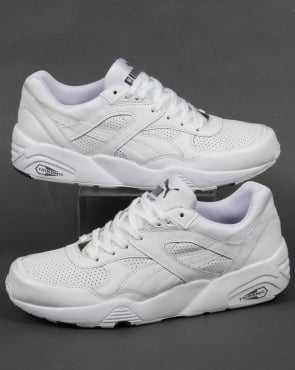 Puma R698 Core Leather Trainers White/White