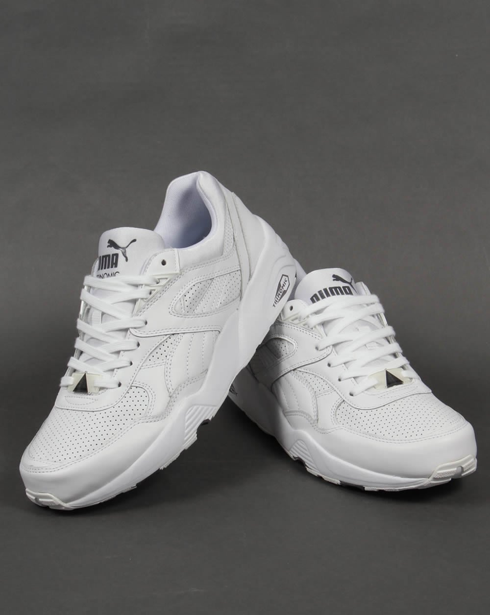 puma r698 core leather trainers white  white  runner  sneaker  men u0026 39 s