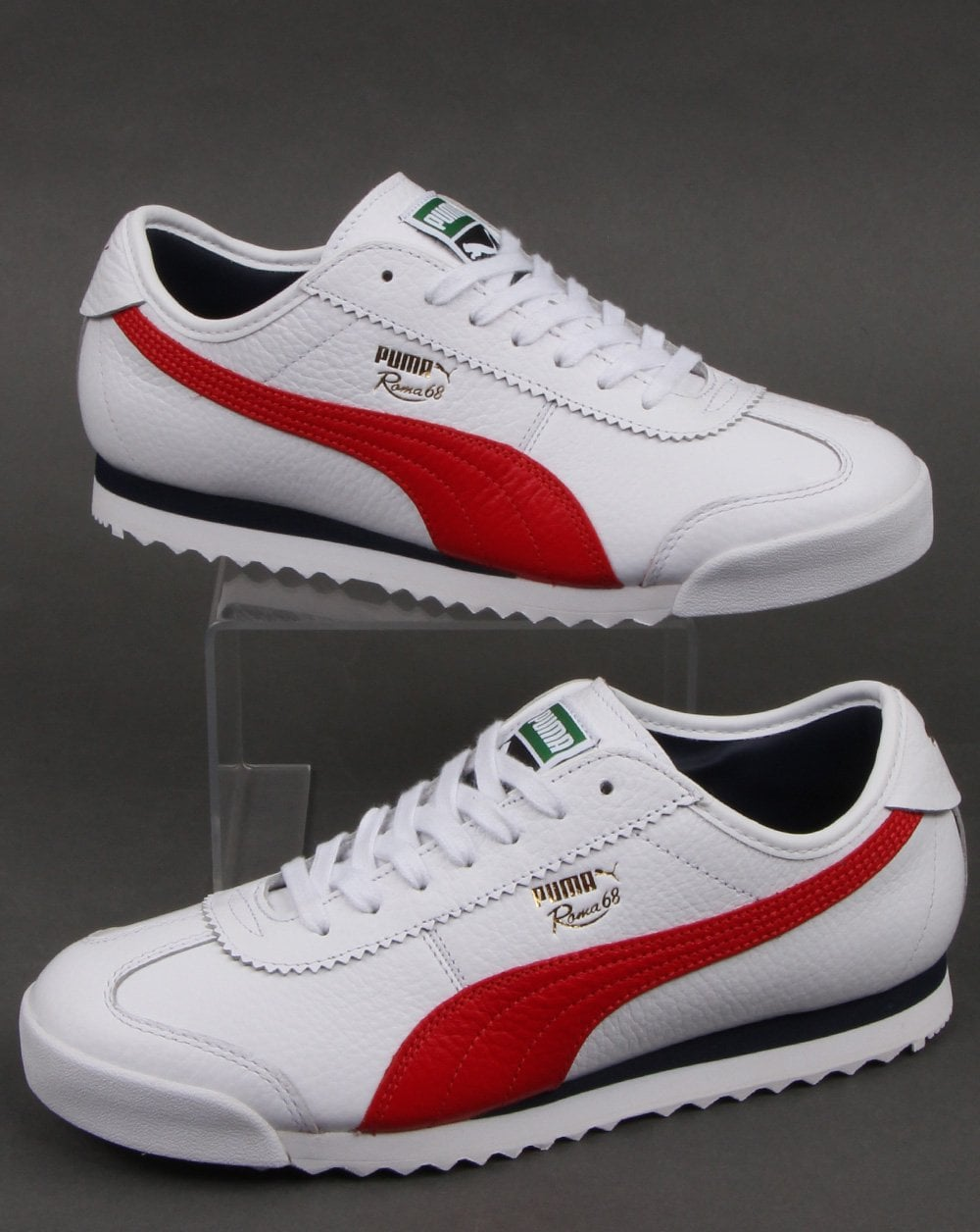 Admitir cuello compañera de clases  Puma Roma 68 Vintage Trainers White/Red - Puma At 80s Casual Classics