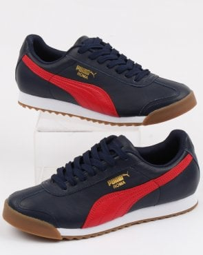 Puma Roma Classic Gum Trainer Peacoat/ribbon Red