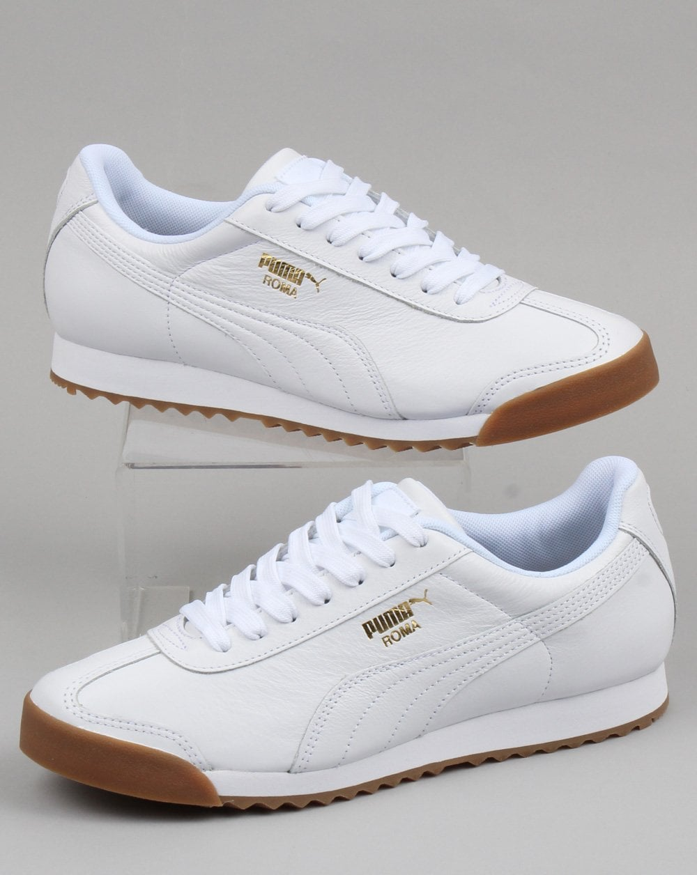 Roma Leather Whitegold Puma Gum Classic Trainer TPXkOiZu
