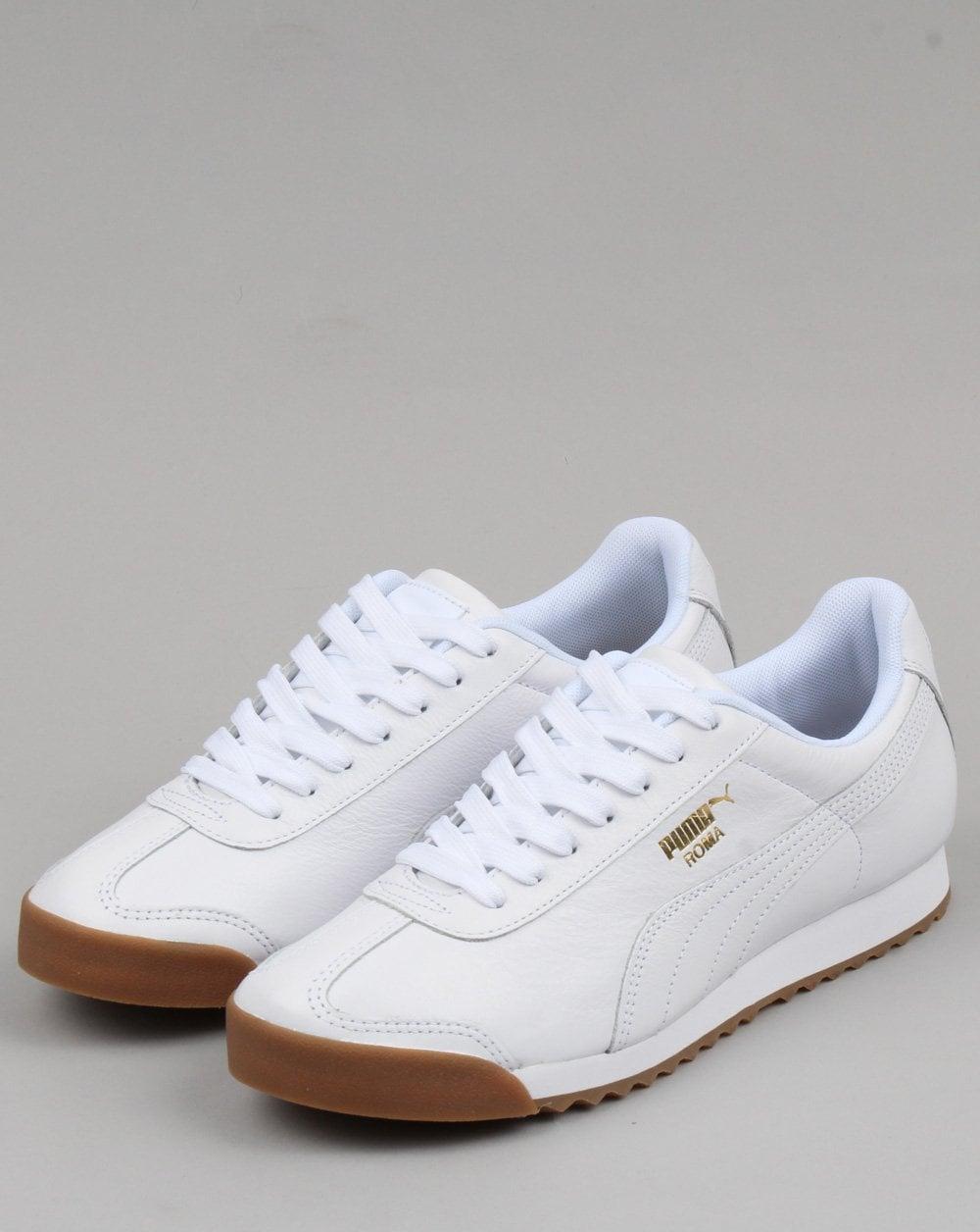 ff76dcf1fb9d6d Puma Roma Classic Gum Trainer White Gold leather