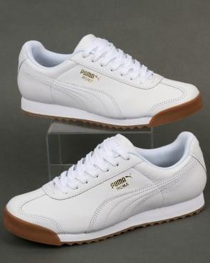 Puma Roma Classic Gum Trainers White/Gum