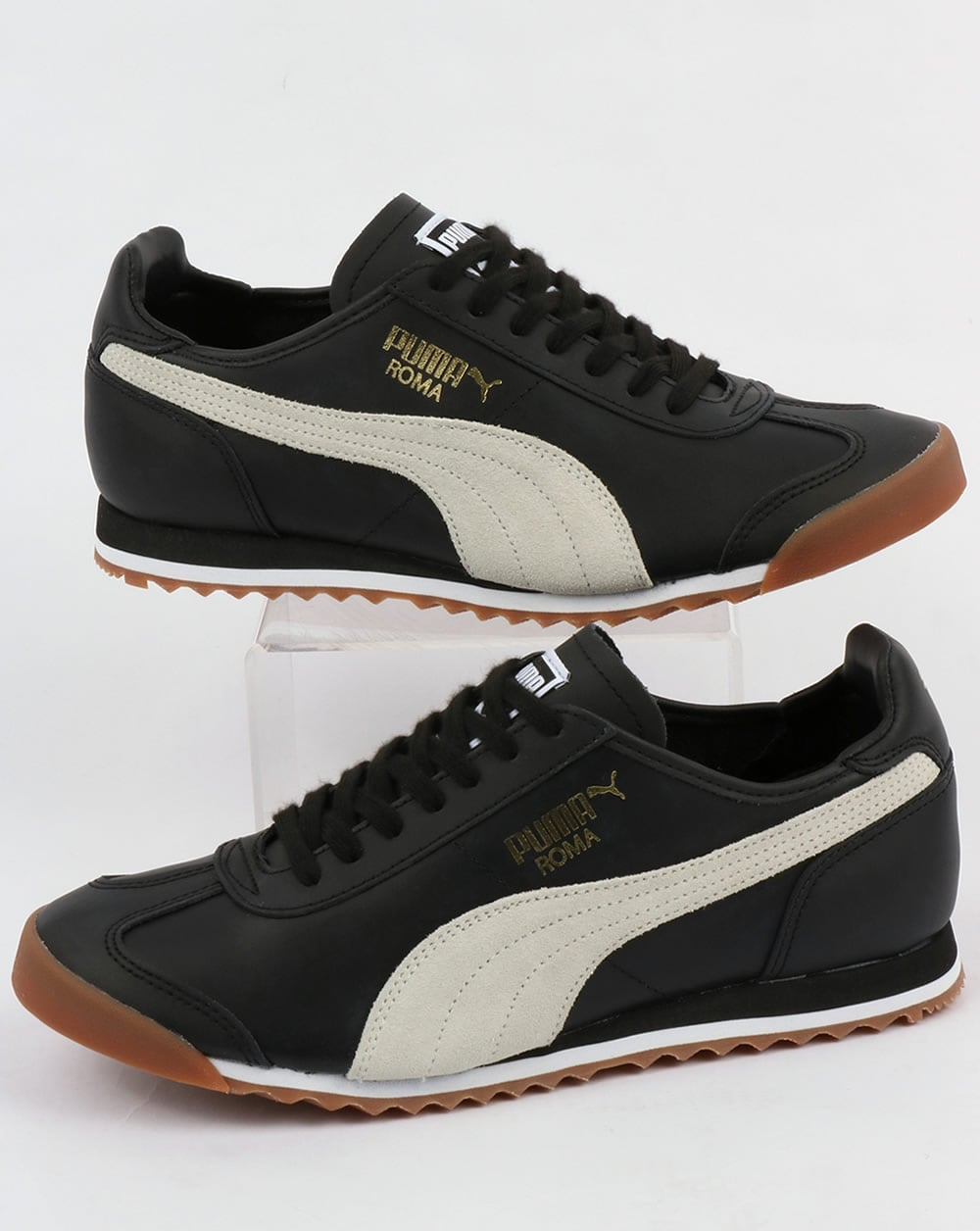 Puma Puma Roma Leather 80s Trainers Black White b8dbc37dd