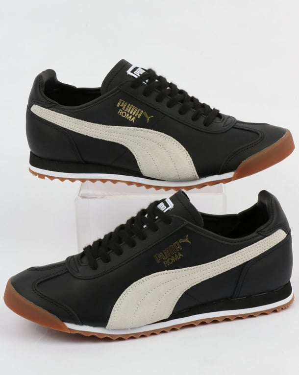 revendeur 498f0 44387 Puma Roma Leather 80s Trainers Black/White