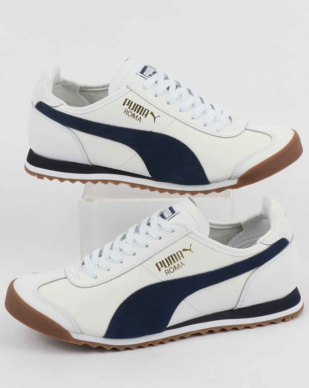 Puma Puma Roma Leather 80s Trainers White Navy 68eb11fb4