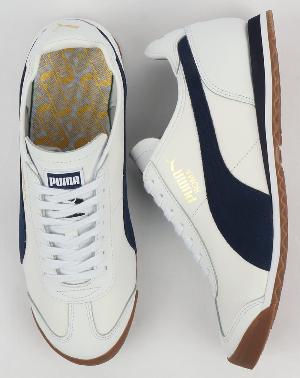 0d904c52336 Puma Roma Leather 80s Trainers White Navy