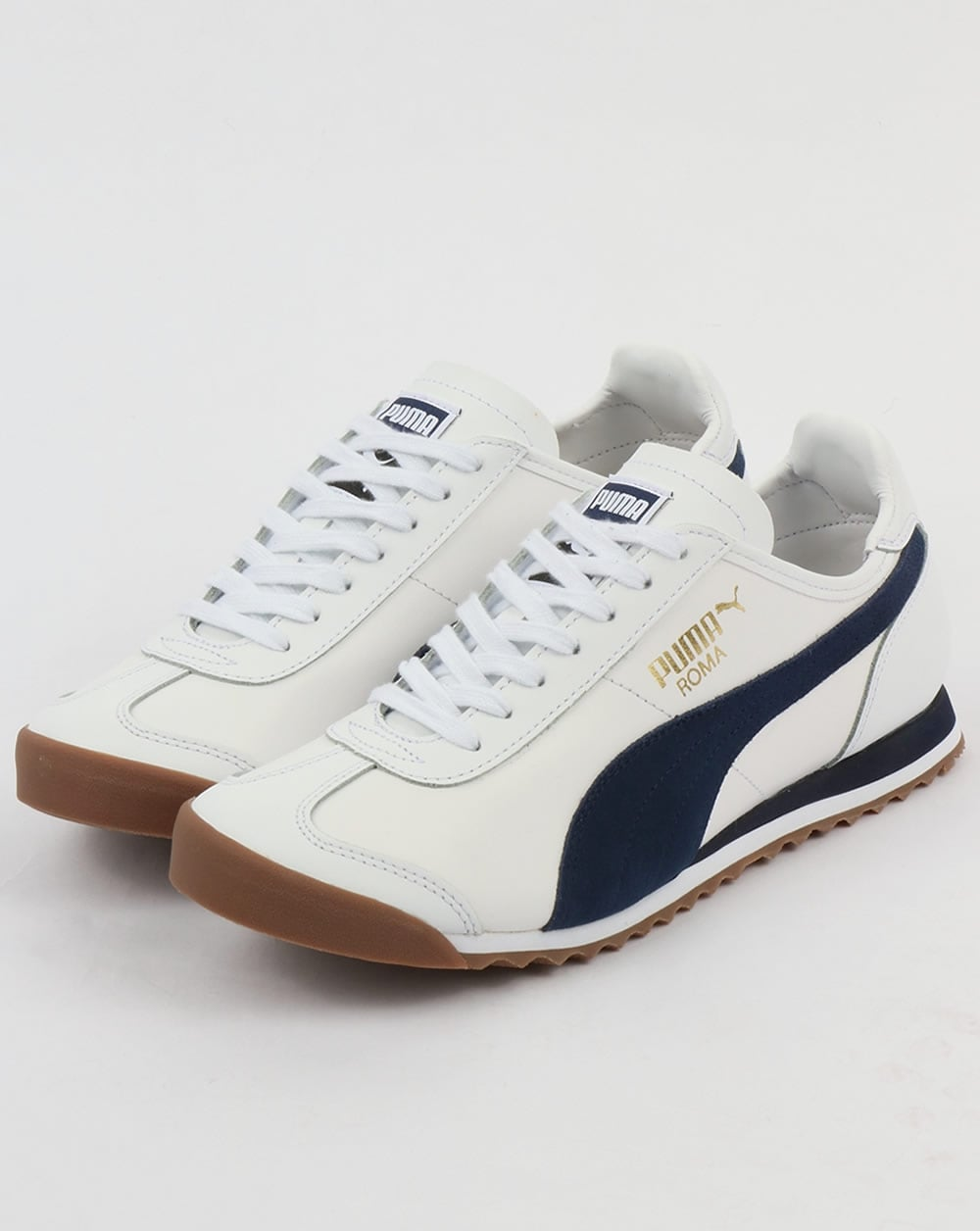 8f4fd4a6dd8b3c Puma Roma Leather 80s Trainers White Navy