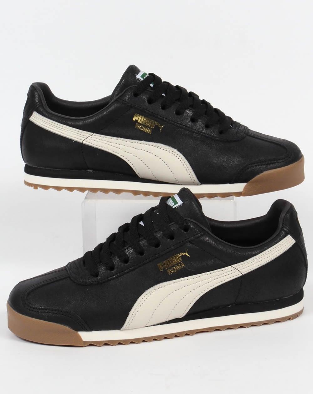 mens black leather puma trainers