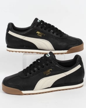 Puma Roma Leather Trainers Black/White