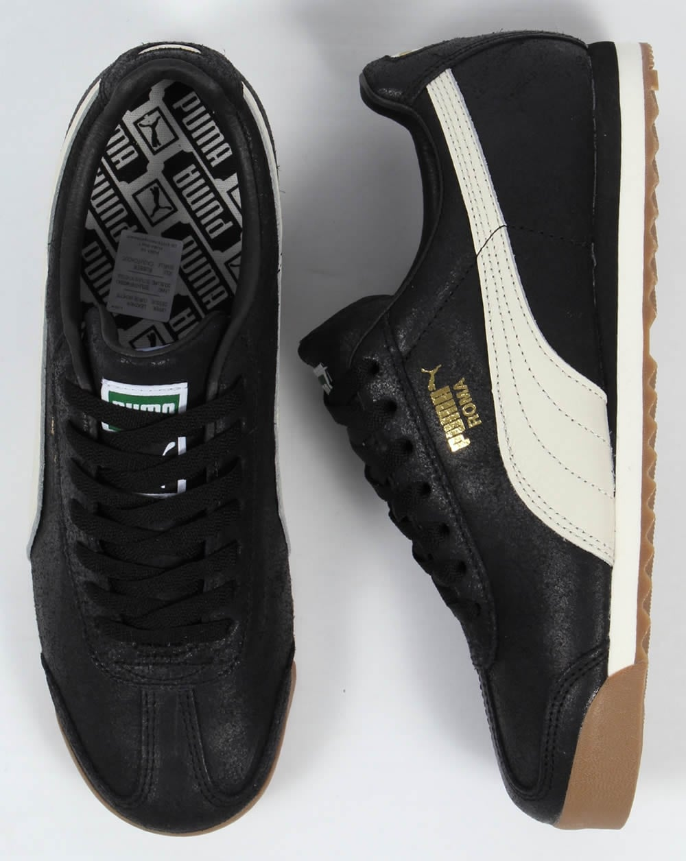 new styles 44fd5 08b87 Puma Roma Leather Trainers Black White