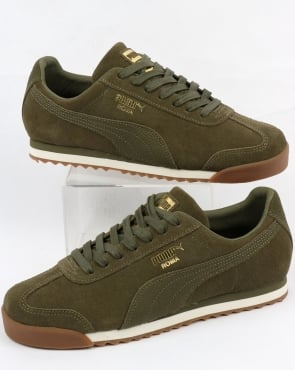 Puma Roma Natural Warmth Trainers Olive Night/whisper White