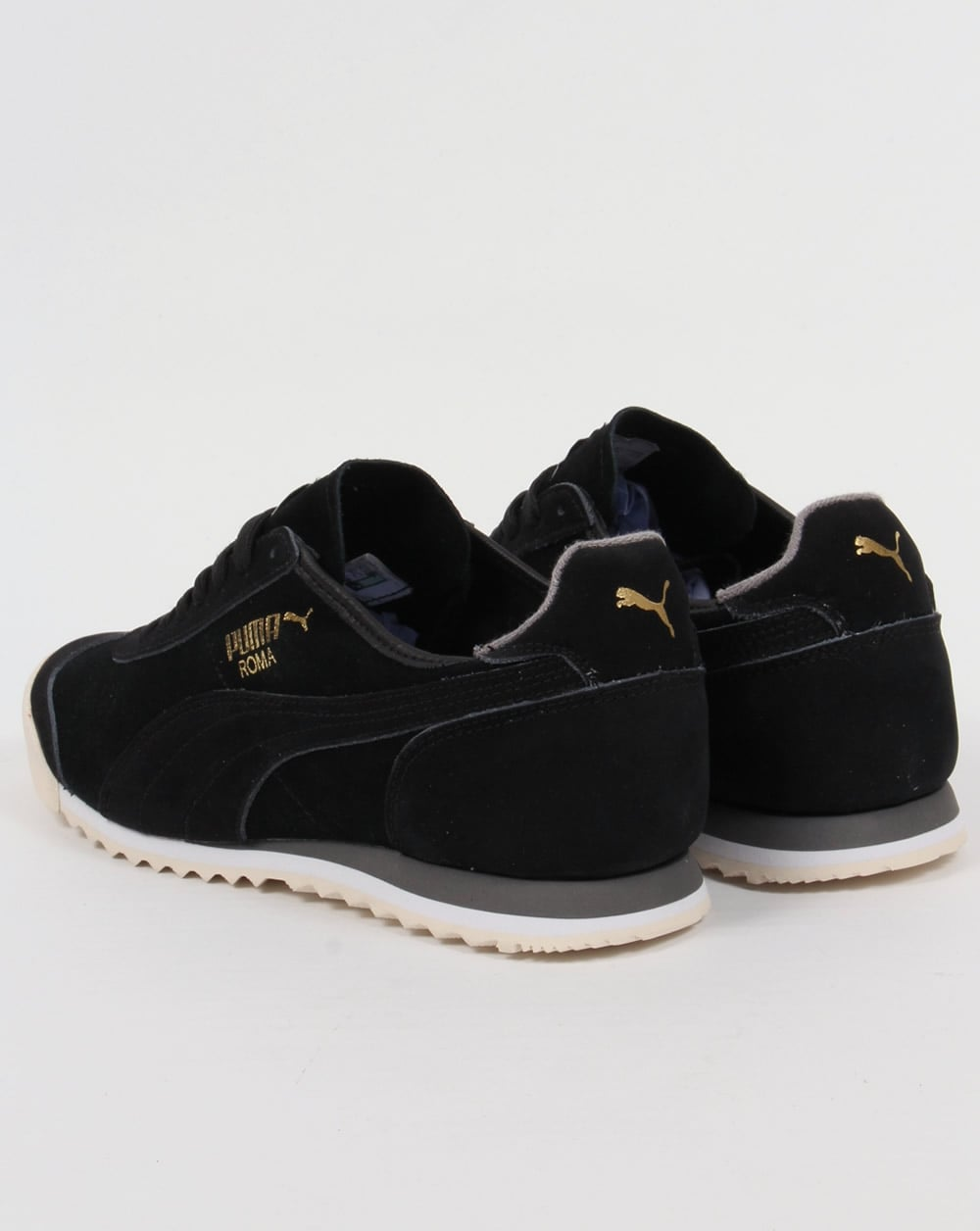 Puma Roma OG Leather Trainers Black Grey 73f9737d0