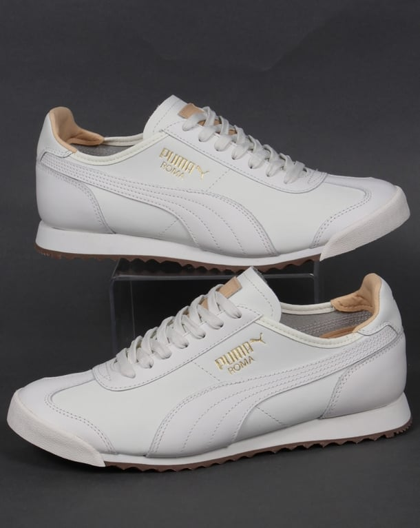Puma Trainers - Puma Roma OG Leather Shoes - Puma White