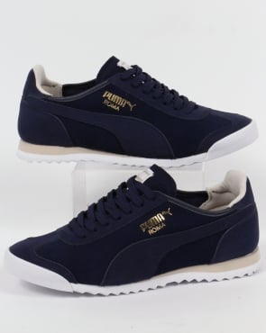 Puma Roma OG Leather Trainers Navy/White