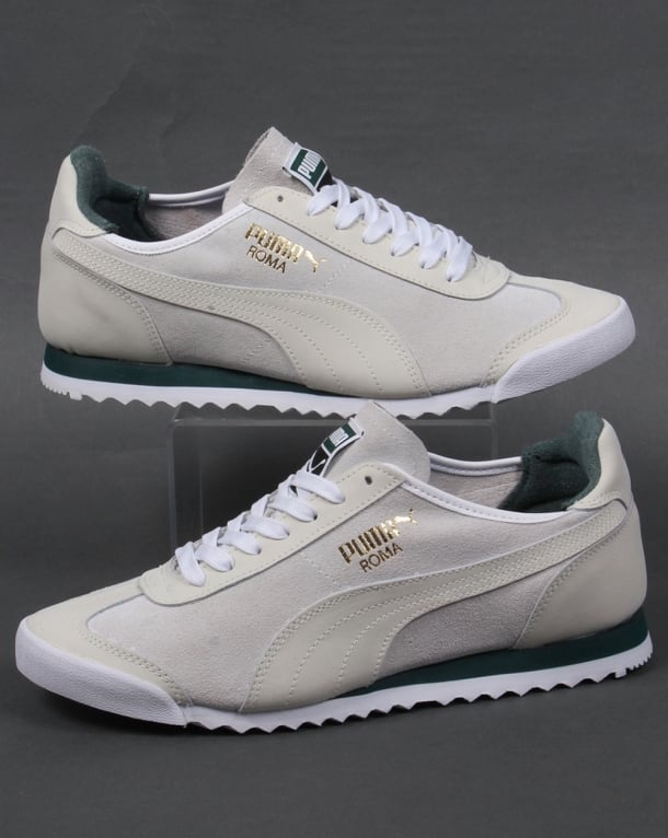 Puma Roma Og Leather Trainers White Green Shoes 68 Runners
