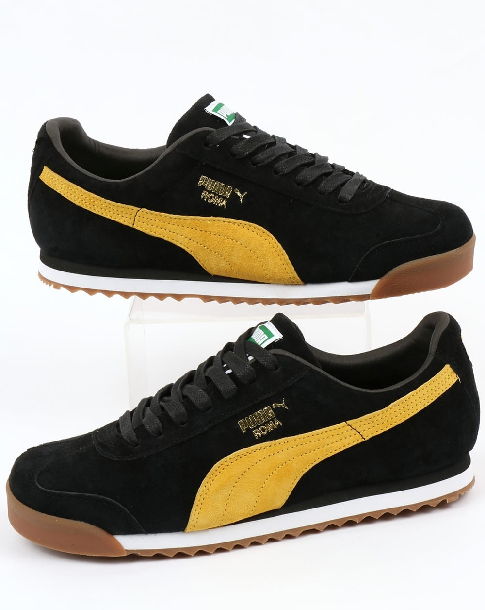 new concept f3ac1 3caae Puma Roma Trainers Black/Yellow