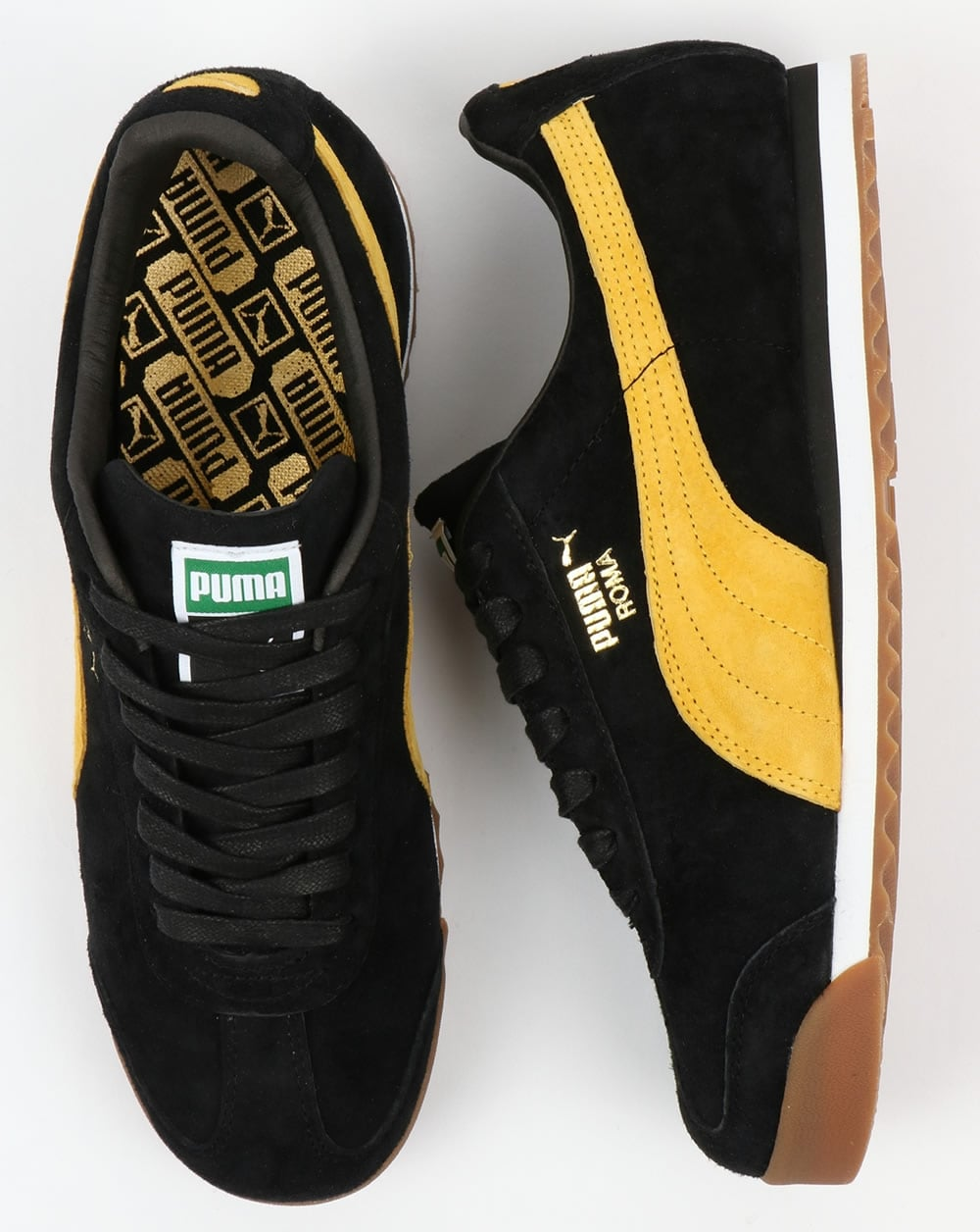 e53eaa10 Puma Roma Trainers Black/Yellow