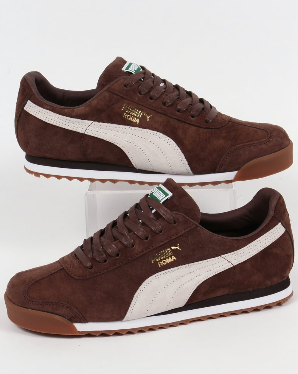 brown puma trainers