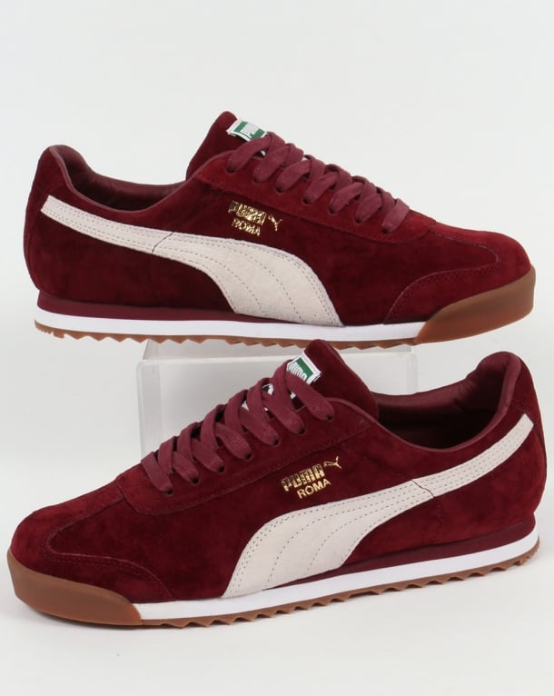 Puma Roma Trainers Burgundy/White